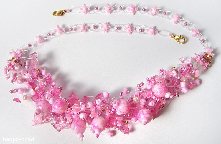 Necklace «Pink apple-tree»