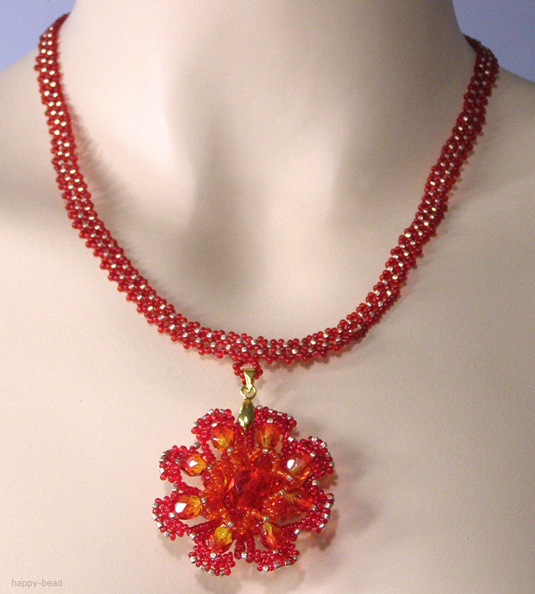 Necklace «Fire Flower»