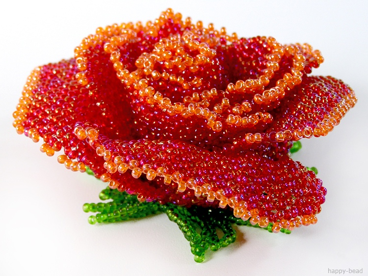 Brooch «Red rose»